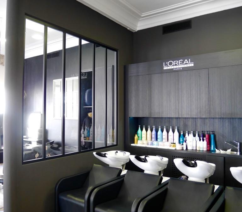 La décoration d'un salon de coiffure Alain Domin – Reims (51)